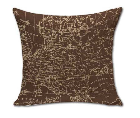 18 Inches Square Vintage World Map Pillows Outdoor Cushion For Chairs Bedroom Decor Cotton Linen Home Textile No CoreBa