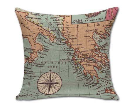 18 Inches Square Vintage World Map Pillows Outdoor Cushion For Chairs Bedroom Decor Cotton Linen Home Textile No CoreCa