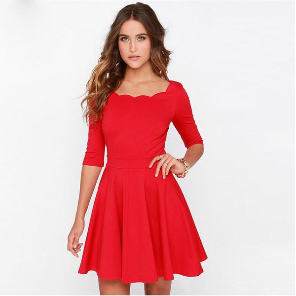 Tengo Women Slim Flared Tunic Corrugated Neckline Red Dress Women Brand Sexy Casual Summer Party Dresses for women New Year