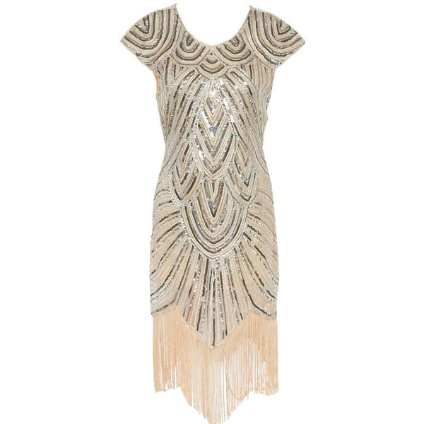 Shining 1920s Style Flapper Dress Vintage Great Gatsby Charleston Sequin Tassel Party Knee-Length Dress With Backside Zipper