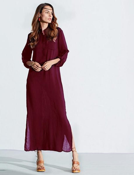 Vestidos ZANZEA Women Retro Long Dress Elegant Sexy Ladies Long Sleeve Deep V Neck Long Line Split Solid Floor-length Dress