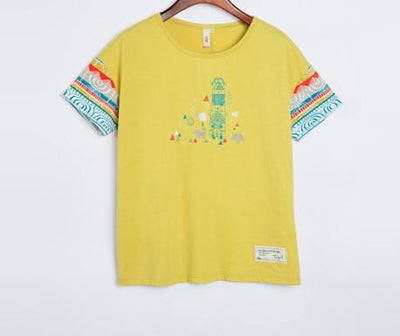 Women T-Shirts Geometric Printed T-Shirts Casual Loose Top Cute Short Fashion