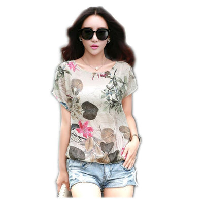 Women Short Sleeve Printed Casual Shirts Blouse Tops