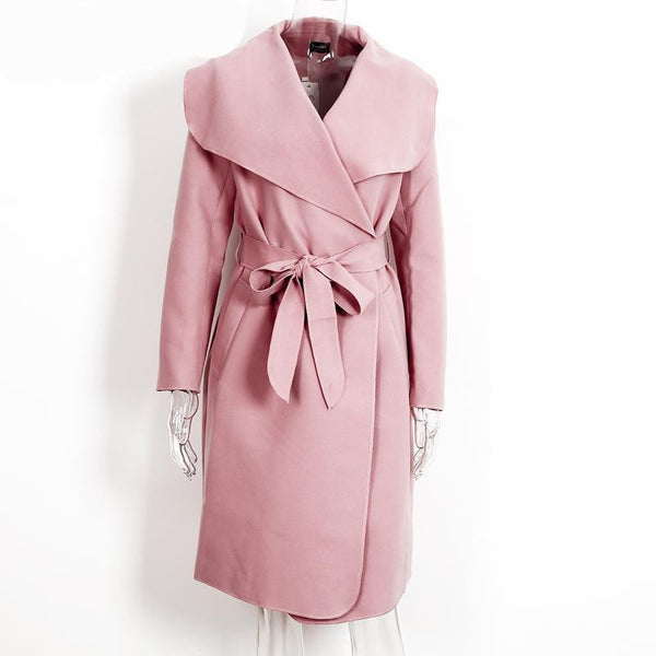 Online discount shop Australia - BerryGo Warm turndown collar jacket coat Women ruffled belt black long coat  overcoat female pink outerwear