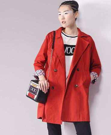 Online discount shop Australia - New Arrival Trench Coat Women Double-Breasted Turn-Down Collar Medium Style Long Cotton Outwears
