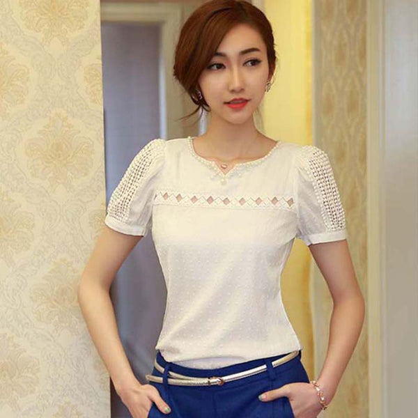 Women's Lace V Neck Chiffon Blouses Short Sleeve Shirt Casual Slim Brand Tops Plus Size