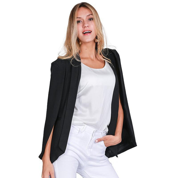 Simplee Fashion cape poncho style white jacket coat  Elegant turn-down collar women coat Classical pocket black outwear
