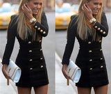 Women Slim Long Sleeve Buttons Casual Bodycon Cocktail Mini Dress