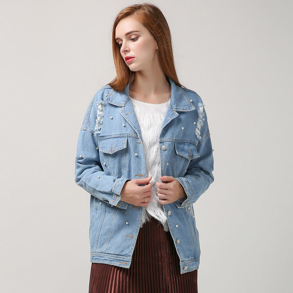 Online discount shop Australia - korean denim jacket women basic coats pearl bead ripped hole long sleeves streetwear new clothing