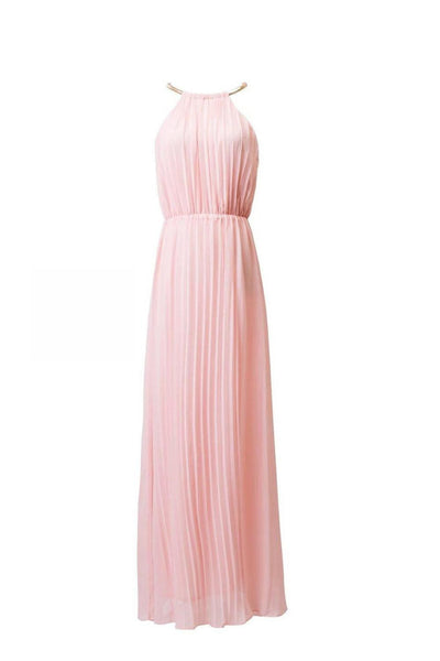 Online discount shop Australia - fashion sexy dress sleeveless Halter pleated pink series of sexy fashion chiffon dress