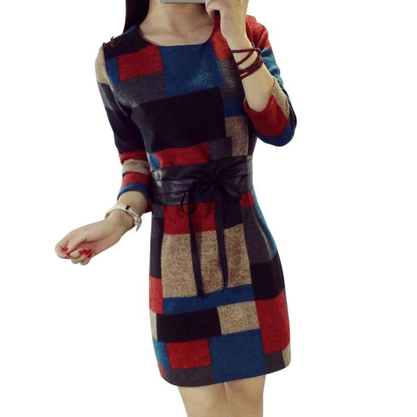 Winter Vintage Ladies Patchwork Women Office Casual Autumn Dresses Plus Size Clothing Long Sleeve DR50092