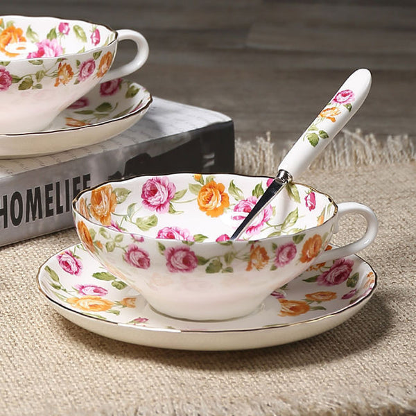 Noble Luxury Bone China Coffee Cup And Saucer Spoon Set Ceramic Mug 200ml Advanced Porcelain Tea Cup Tray For Gift Cafe Party