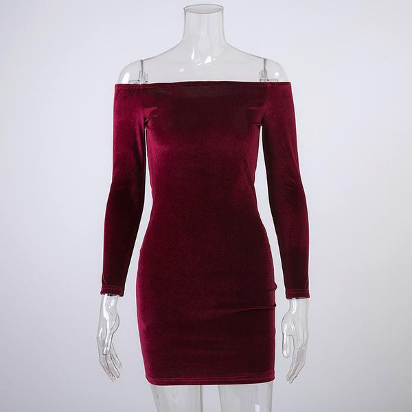 Off Shoulder Wine Red Sheath Velvet Dress Women Winter Party Long Sleeve Elegant Pencil Bodycon Ladies Dress Vestidos