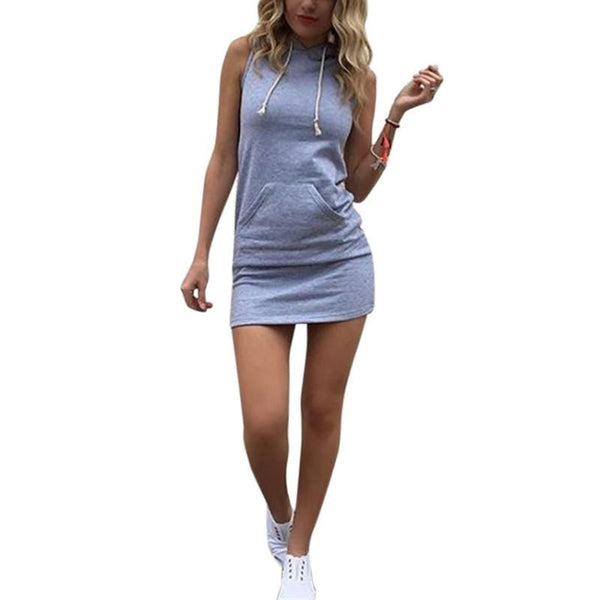 Summer Women Ladies Casual Shirt Hooded Dress Sundress robe Vintage Sexy Slim Bodycon Party Night Club Dresses
