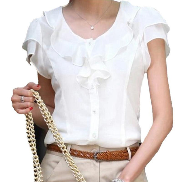 Style New Turn-Down Collar Casual Slim Chiffon Blouses Women Shirt Female Blouse Ladies Tops