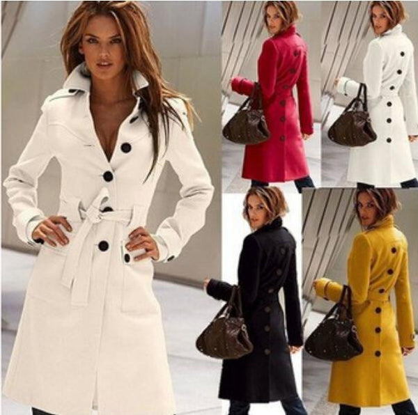 women Woolen cloth coat long sleeve pure color Open fork coat High Women's clothing coat