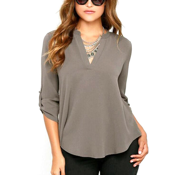 New Women V Neck Solid Chiffon Blouse Tops Sexy Fashion OL Long Sleeve Shirt Blouses 4 Colors Size M-XXL