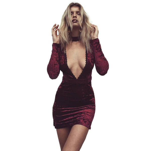 Halter Lace Velvet Dress Women Side Split Party Bodycon Dress Autumn Winter High Waist Red Dress Vestido