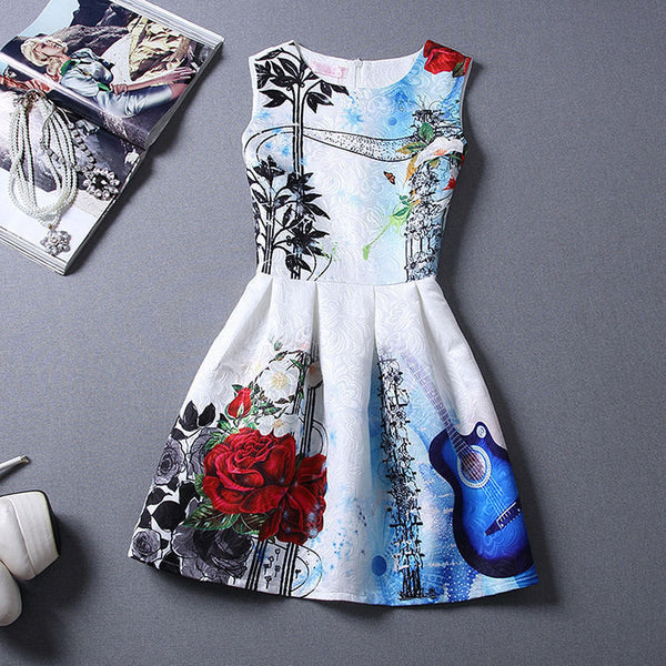 Online discount shop Australia - Black Sleeveless Print Party Dresses Ladies Vintage Style sundress female
