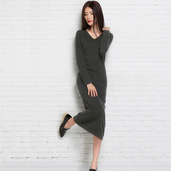 Online discount shop Australia - long dress womens knitting sweater dress fall for women knitted sweaters and pullovers black long party sweater dresses