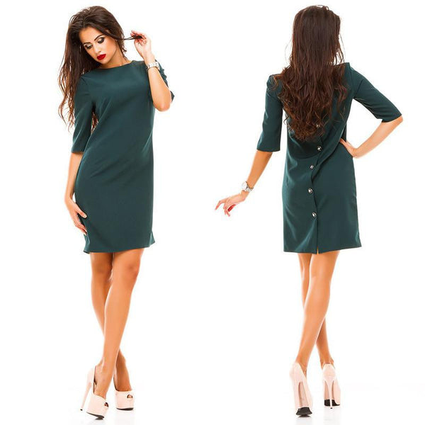 women's sheath dress casual o-neck Half sleeved back row of buttons dress bodycon vestidos party dresses