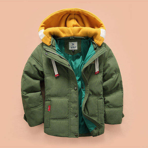 Online discount shop Australia - Children Down & Parkas 4-10T kids outerwear boys casual warm hooded jacket for boys solid boys warm coats