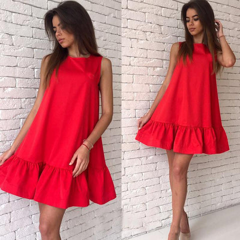 Women's Sexy Ruffles Dress Summer Sleeveless Casual A Line Bodycon Dress Women Party Plus Size Short Mini Dresses