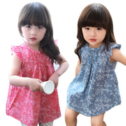 Online discount shop Australia - Beautiful girl's dress Kids Baby Girl Floral Sleeveless Princess Dress Vest Shirt Clothes Cotton Blended costumes