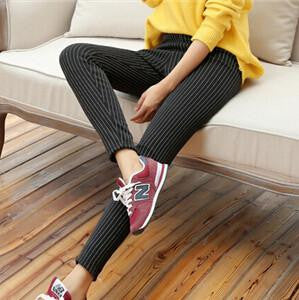 Warm Stripe Thick Slim Jeggings Leggings Foe Women Velvet Fleece Linede Black Workout Leggings MF3657412BlackOne Sizea