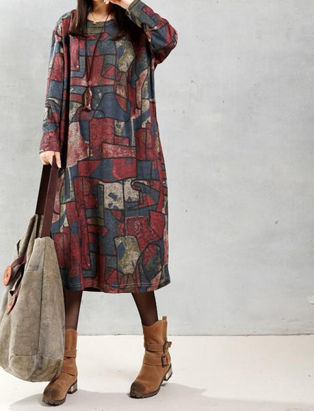 ZANZEA Women Autumn Vintage Mid-calf Length Dress Casual Loose Long Sleeve O Neck Printed Dresses Vestidos Oversized