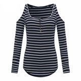 Sexy Off Shoulder T Shirt Women Long Sleeve Tops Casual Fashion Slim Plus Size Striped Shirt