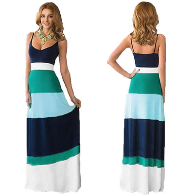New Women Bohemia Long Maxi Dress Summer Sexy sling Dress Splicing color stripe dress vestido de fiesta Trendy16
