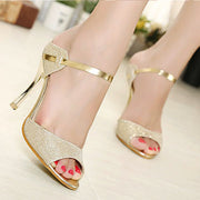 Online discount shop Australia - High Heels Sandals Ankle-Wrap Women Sandals Beautiful Ladies Silver Gold Sandals Shoes