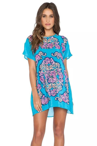 Women bohemian summer dress Ethnic Ropa Mujer 3/4 sleeve Loose V neck vintage print dress short hippie