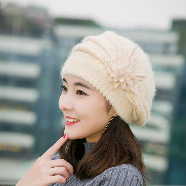 Online discount shop Australia - Hats for women beanie mom's cap solid beret Rabbit hair