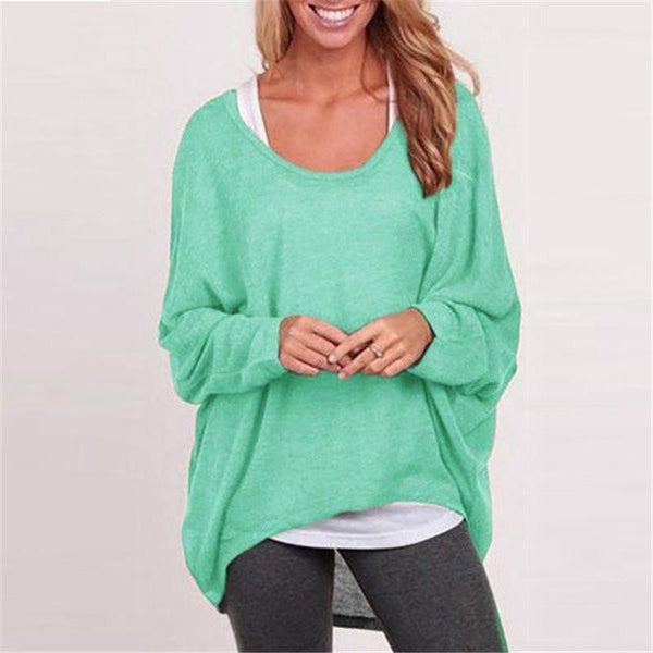 Women Batwing Long Sleeve  Shirts Female Casual Loose Solid Tops Plus Size 9 Color