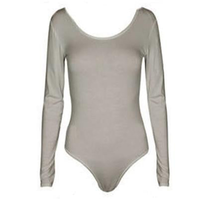women shirts Crew Neck Long Sleeve Open Crotch Bodysuit Basic Solid Color Body Shirt Women C218