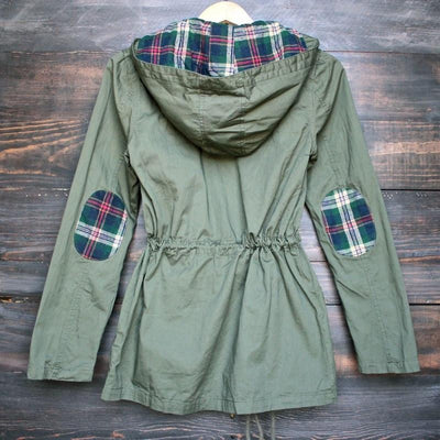 Women Jackets Casual Ladies Long Sleeve Plaid Hooded Military Parka Army Green Outerwear ZM0089