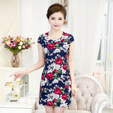 Online discount shop Australia - L-4XL Summer Dress Women Slim Milk Silk print Floral sundress Casual summer style Plus Size sexy bodycon dress Vestidos