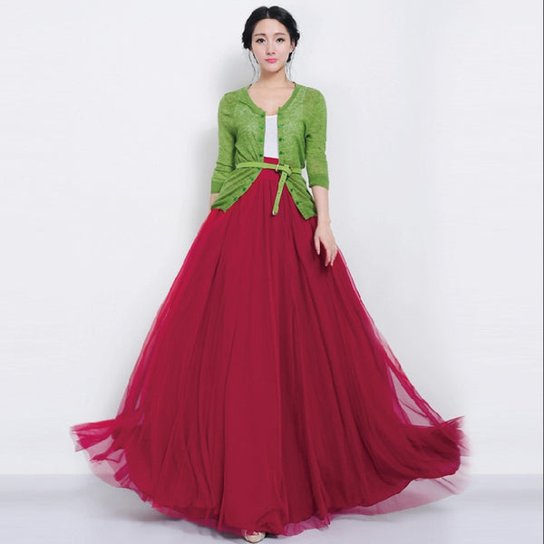 79b9137889 Pleated mesh swing maxi skirts women bandage designer Red high waist tutu  long tulle skirt