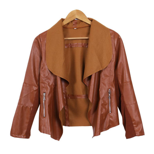 Women Punk Slim Biker Motorcycle Short Jacket Lapel PU Leather Coat Outwear woman jackets