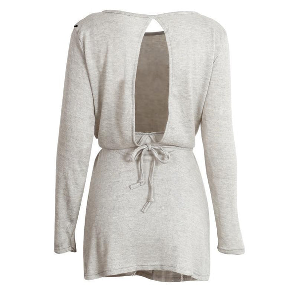 Sexy loose hollow out knitted dress women Casual belt backless short dress Winter female grey long sleeve dress