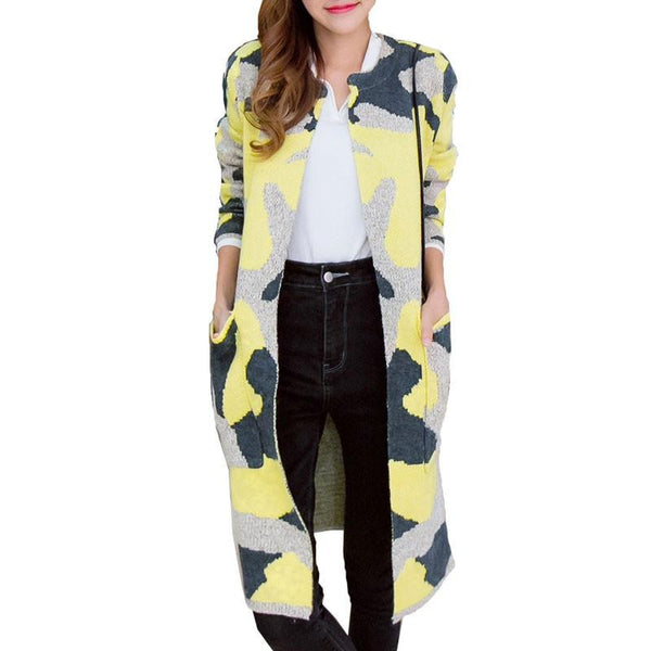 Women Trench Coat Fashion Camouflage Color O-Collar Open Stitch Long Ladies Coat Outwear