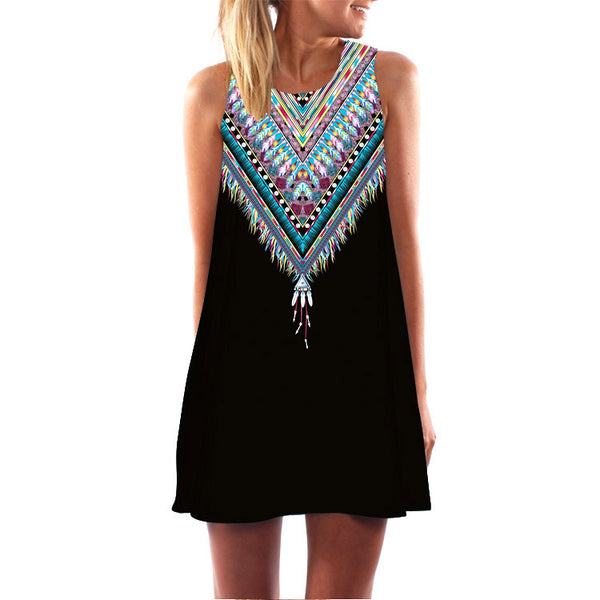Online discount shop Australia - 2016 Summer Dress Women Print Vintage Hippie Women Beach Dress Dashiki Loose Boho Women Clothing Sundresses Vestidos