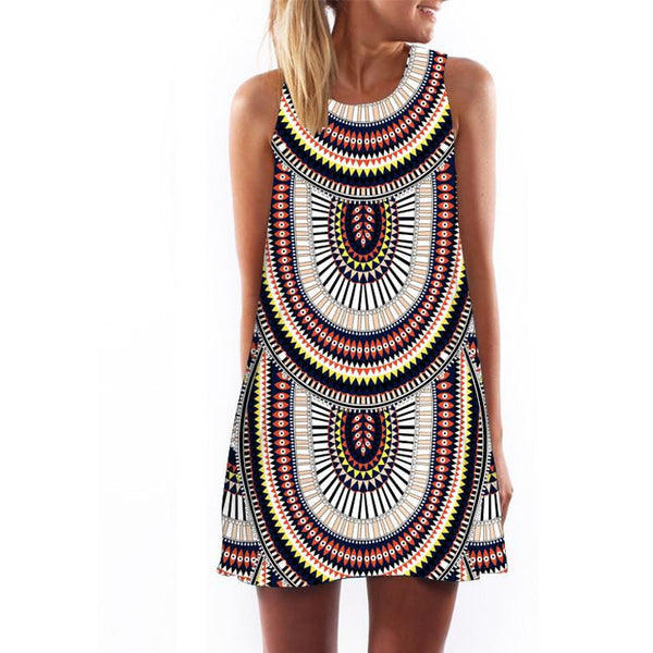 Women Dress 3D Print Vintage Hippie Summer Beach Dress Dashiki Loose Plus Size Women Clothing