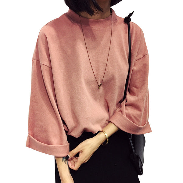 Solid Cotton Women Fashion T-shirt High Collar Three Sleeve Casual All-match Female T-shirt