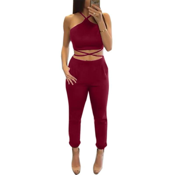 Women Two Piece bandage Set jumpsuit Rompers Womens Jumpsuit Long Pants 2 Piece Set Women Short Crop Tops Bodycon Playsuit