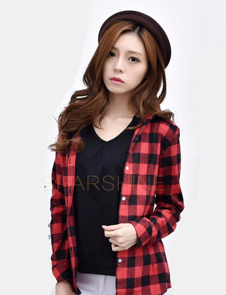 New Fashion 22 Colors Girl's Plaid Flannel Shirt Female Long-Sleeved Shirts Ladies Large Size Women's Tops plus size
