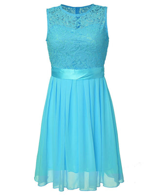 Women Summer Lace Party Dress Sleeveless Elegant Chiffon Princess Knee Length Dresses