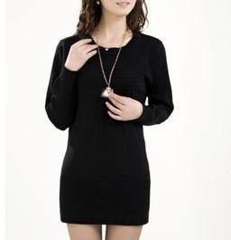 Women Knitted Dress Ladies Casual Turtleneck And O-neck Plus Size O-Neck Women Plus Size Winter Dresses WZQ039